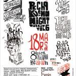 Plakat zaprojektowany przez Piotrka Chuchlę dla PechaKucha Night Warsaw vol. 6