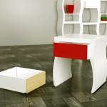 Wielofunkcyjny modułowy regał składający się ze stołków, stolików, półek...