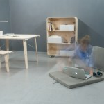 """Nomada"""" to zestaw mebli zaprojektowany przez Ninę Woroniecką dla osoby prowadzącej mobilny tryb życia."""